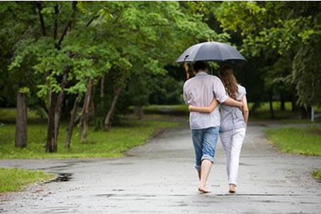 couple walking under an umbrella